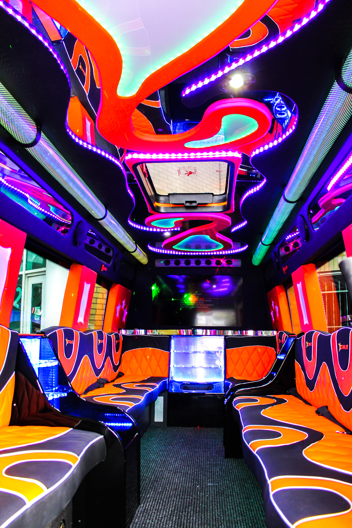 Black Starline Limo Party Bus - Interior
